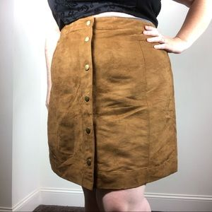 Old Navy Tan Brown Faux Suede Button Front Skirt